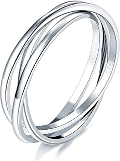 925 Sterling Silver Ring Triple Interlocked Rolling High Polish Ring