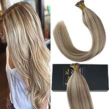 Sunny 24inch Remy Brazilian Hair Extensions Fusion I Tip Human Hair 1g/Strand Dark Ash Blonde Highlight Bleach Blonde Keratin Stick Tip Human Hair Extensions 50G