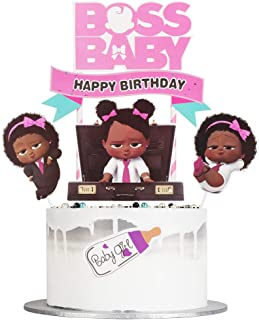 Auteby Boss Baby Happy Birthday Cake Topper for Baby Girl Baby Theme Party Decoration Supplies(Baby girl)