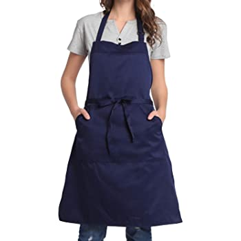BIGHAS Adjustable Bib Apron with Pocket Extra Long Ties for Women Men, 13 Colors, Chef, Kitchen, Home, Restaurant, Cafe, Cooking, Baking, Gardening (Navy)