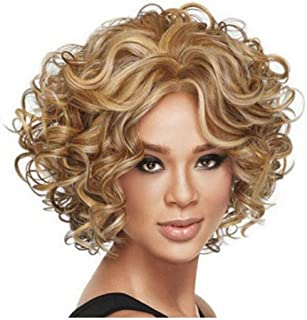Diy-Wig Short Curly Wig Blonde Wig for Women Synthetic Cosplay Wig Halloween Costume