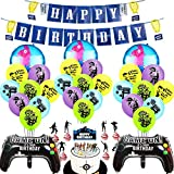 BAIBEI Video Game Party Supplies Happy Birthday Gaming Banner,...