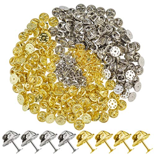 obmwang 200 Pairs Brass Butterfly Clutch Tie Tacks Pin Backs Replacement with 8mm Blank Pins (Silver and Golden)