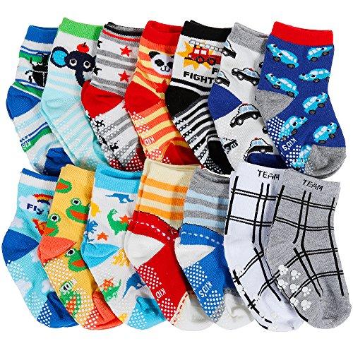 Lictin 14 Paare Baby Antirutsch Socken Baby ABS Antirutsch Socken Anti-Rutsch Socken Antirutsch Babysocken für Baby 12-36 Monate, Mädchen oder Jungen