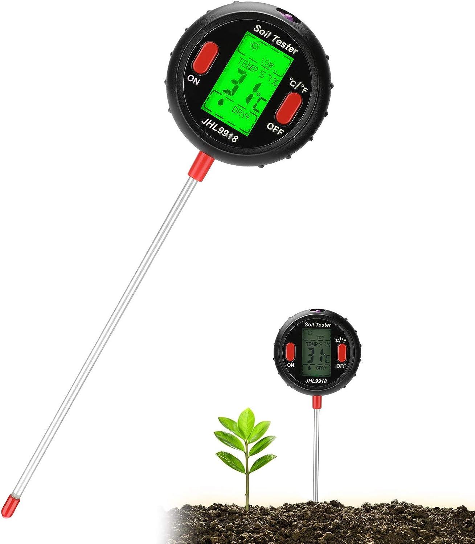 Medidor de Suelo, 5-in-1 comprobador de suelo la humedad luz y PH acidez atención de la planta planta de interior y exterior probador del para Plantas de Suelo/Césped en Interior o Exterior (Negro)