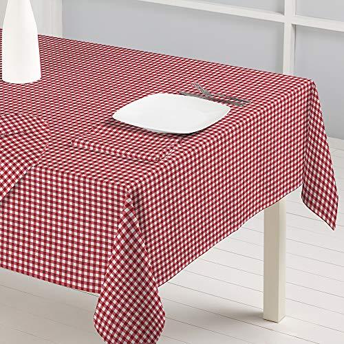 Barceló Hogar - 💝 Mantel de Tela Jacquard Cuadros Vichy, Color Rojo, Medida Rectangular 150x300 cm, Fabricado en Algodón