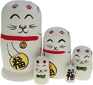 Arsdoll Lovely Fortune Lucky Cat Nesting Doll Wooden Matryoshka Russian Doll Handmade Stacking Toy Set 5 Pieces For Kids Girl Mother's Day Gifts Home Decoration (White)