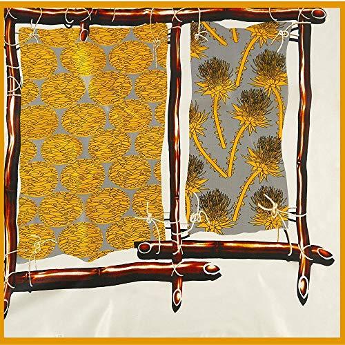Schals für Frauen Schal Seide kleiner quadratischer Schal weibliche Maulbeerseide kleiner Schal Zaun grauer Stewardess Seidenschal-Gelber Rand_Zaun Seide 53 * 53cm
