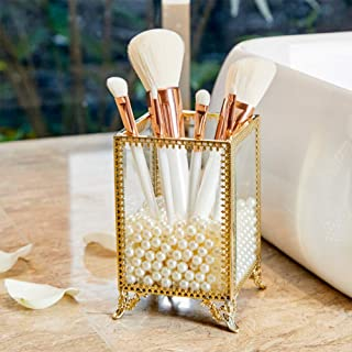 PuTwo Makeup Brush Holder Glass and Brass Vintage Makeup Brush Organizer Handmade Cosmetic Brush Storage with White Pearls for Dresser Vanity Countertop - Gold