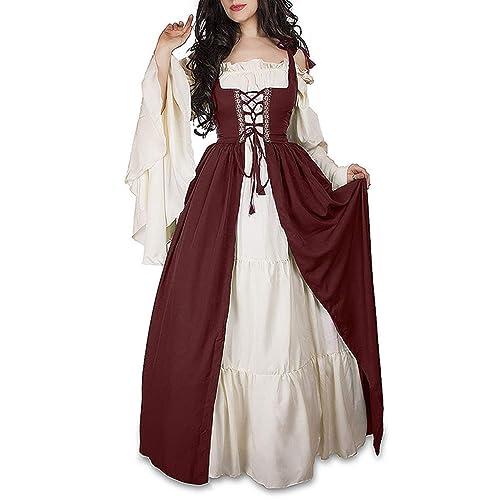 9efc72567f07 ULUIKY Women's Renaissance Medieval Irish Costume Solid Color Bandage Beam  Waist Stage Long Dress