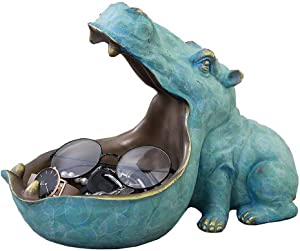 """nice--buy 12"""" Hippo Statue Resin Hippopotamus Figurine Sculpture Home Table Decoration Sundries Container Key Candy"""