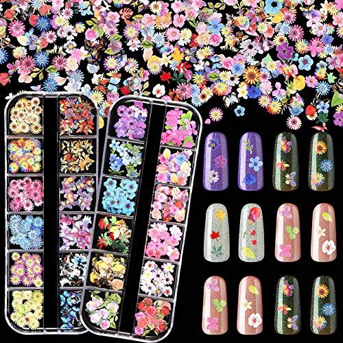 24 Rejillas Pegatinas Calcomanías de Arte de Uñas de Flores 3D y Mariposa Rebanada de Uñas de Mariposa Mixta Colorida Encantos de Escamas de Uñas para Decoración de Uñas