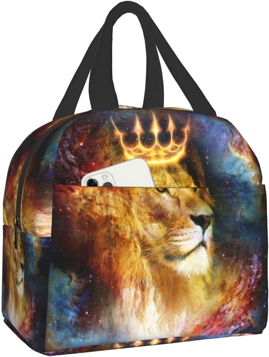 AuHomea Lunch Bag 3D Galaxy Lion King Printed Tote Reusable Insulated Waterproof School Picnic Carrying Gourmet Lunchbox Container Organizer For Men, Women, Adults, Kids, Girls, Boys
