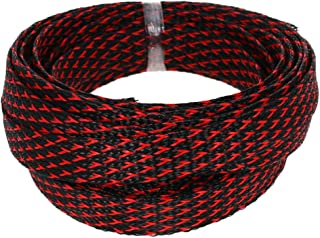 Bettomshin Expandable Braided Sleeving 0.79inch Flat Width 3.28Ft Length Braided Cable Wire Sleeve for TV Computer Office ...