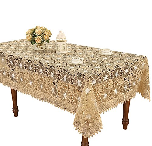 Simhomsen Beige Embroidered Lace Tablecloth 60 × 102 inch Rectangle