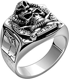 LUCHONG S925 Sterling Silver Ring Domineering Skull American Soldier Ring Thai Silver Retro Cobra Exaggerated Index Finger...