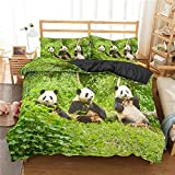 WTBDWOSH® Panda Animal del Bosque Verde Ropa De Cama Infantil 180X220 Cm 3D Imprimiendo Funda Nórdica Y 2 Fundas De Almohada De Anti-Humedad, Anti-Ácaro, Suave Y Cómodo Antialérgico Cuidado Fácil