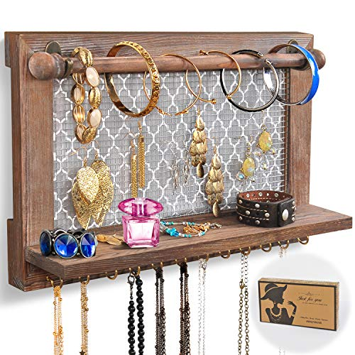 ASHLEYRIVER Wall Mounted Rustic Wood Jewelry Organizer Holder with Hooks Shelf for Hanging Earrings...