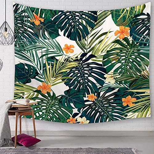 Morbuy Kreativ Tapisserie Kaktus, Grünes Blatt Dekor Wandteppich Tapestry Wandbehang aus Polyster Wandtuch Tischdecke Meditation Strandtuch Yogamatte (Klein (130 x 150cm), Orange Blume)