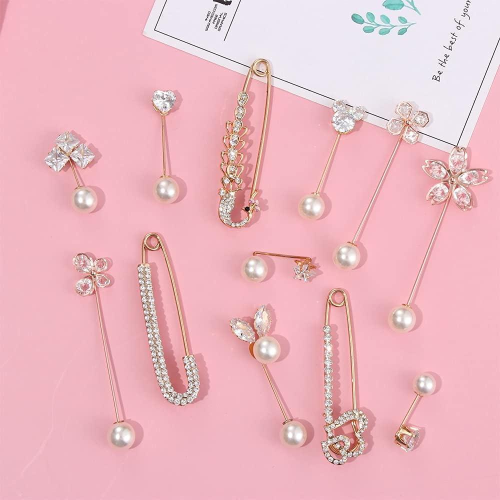 KASMOM Fashion Crystal Rhinestone Pearl Metal Pin Large Brooch Shirt Veil Hijab Scarf Sweater Shawl Buckle Corsage Valentine's Day Gift - Style 6