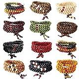 YADOCA 12 Pcs 108 Bracelet Perles en Bois de Santal Naturel Collier/Bracelet Chaîne Chapelet Perles...