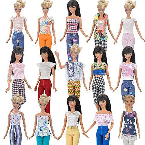 E-TING 7 Sets = 14 Punkte 7 Kleidung Outfit 7 Hosen Hosen für Barbie-Puppe