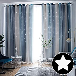 ARTBECK Kids Star Blackout Curtains Gradient Sheer...