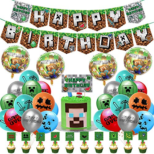 Pixel Gaming Cumpleaños Decoracion Miner Pixel Style Gamer Happy Birthday Pancarta Adornos para Tartas Globos Usado para Video Gamer Birthday Party