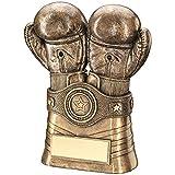 Guantes de boxeo y trofeo de cinturón de color BRZ/ORO, 16,5 cm
