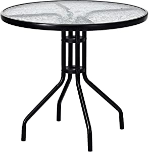 """FDInspiration Black Steel Frame 32"""" Round Outdoor Patio Tempered Glass Top Table w/ 1.6"""" Umbrella Hole with Ebook"""