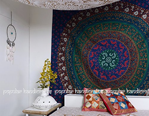 Popular Handicrafts Large Hippie Tapestry, Hippy Mandala Bohemian Tapestries, Indian Dorm Decor, Psychedelic Tapestry Wall Hanging Ethnic Decorative Tapestry (84x90 inches) (Blue)
