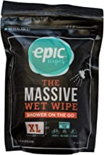 Epic Wipes, 10-pack massive wet wipes, biodegradable residue-free shower substitute, big on-the-go bamboo body wipes