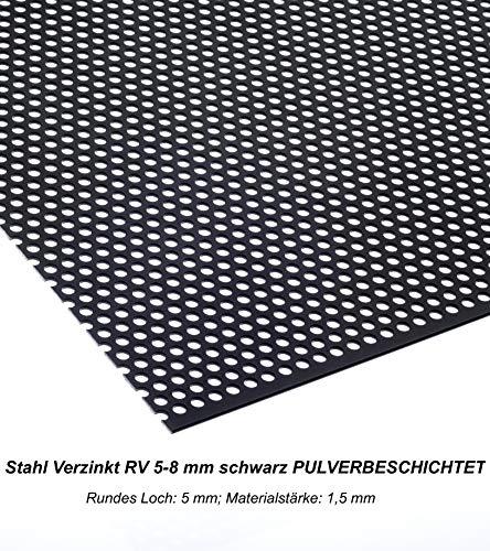 Lochblech Schwarz RAL 9005 Stahl Verzinkt Pulverbeschichtet RV 5-8mm 1,5mm dick magnetisch Neu (1000 mm x 500 mm)