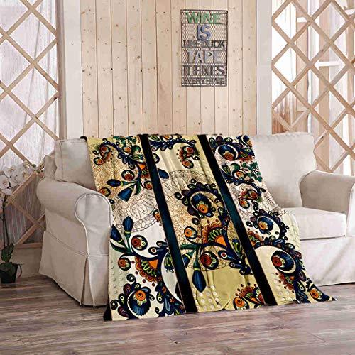 Kuidf Coperta geometrica con motivo cachemire mandala batik tre flanella biancheria da letto di lusso oversize per divano letto o divano 150 x 200 cm