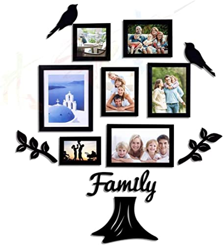 Art street Family Tree Photo Frame set of 7 individual wall photo frame with MDF plaque - 2 Leaf ,1 Trunk ,1 Family a...
