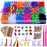 UNBRANDPRO PENGXUAN Rainbow Color Rubber Loom Bands Refills Storage Box Kit Set for Kids - 5800 Pcs Rubber Loom Bands, 300 Pcs Slips, 100 Beads, 15 Charms and More bracelet rubber Oct, 2020