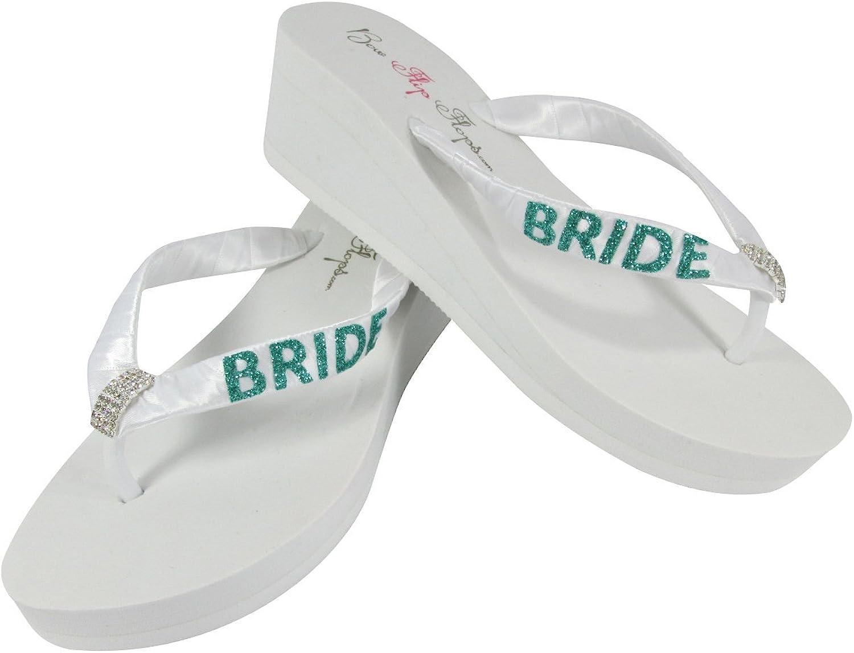 White 2 inch Wedge Bride Flip Flops, Jade Glitter, Bridal Emerald Cut Rhinestone Bling
