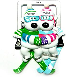 DIBSIES Personalization Station Personalized Hugs and Skis Couples Christmas Ornament