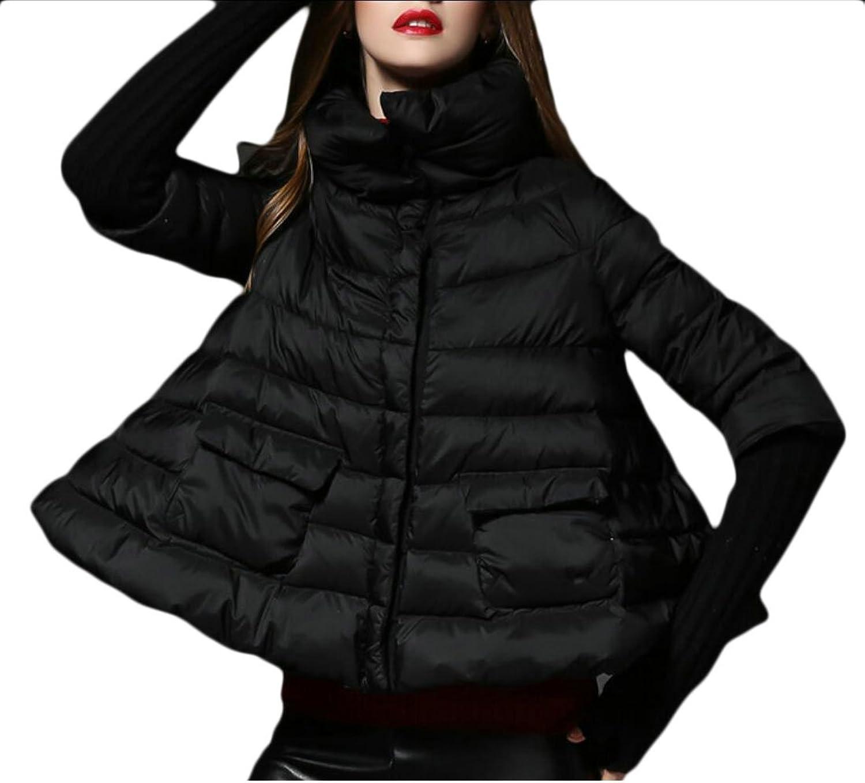 GAGA Women Fashion Long Sleeve Cloak Puffer Down Coat