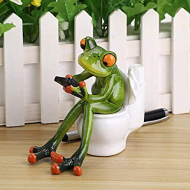 JuxYes Resin Creative 3D Craft Frog Figurine Statue Pencil Holder, Funny Green Frog Texting On Toilet Personalized Animal Col