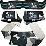Lifting Straps (2 Pairs/4 Straps) for Weightlifting, Cross Training, Workout, Gym, Powerlifting, Bodybuilding-Support for Women & Men -Avoid Injury- (Aqua Blue & Camo Grey) - 1 Year Warranty