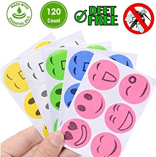 Lesgos 300PCS Mosquito Repellent Stickers Insect Repellent Stickers Smiley Natural Anti Mosquito Patches Deet-Free Tablets for Kids Pregnant Adult Women Elder Camping Fishing Garden