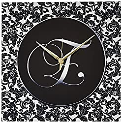 3dRose DPP_38754_2 Letter E Black and White Damask Wall Clock, 13 by 13-Inch