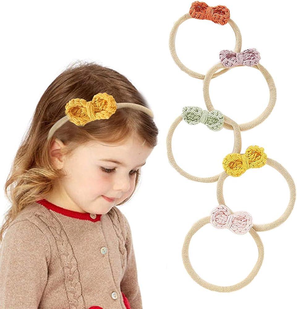 Bow Headbands for Baby Girls Newborn Toddlers Infant Braided Elastic Headband Nylon Head Wrap Hair Bands Accessories,5 Pcs