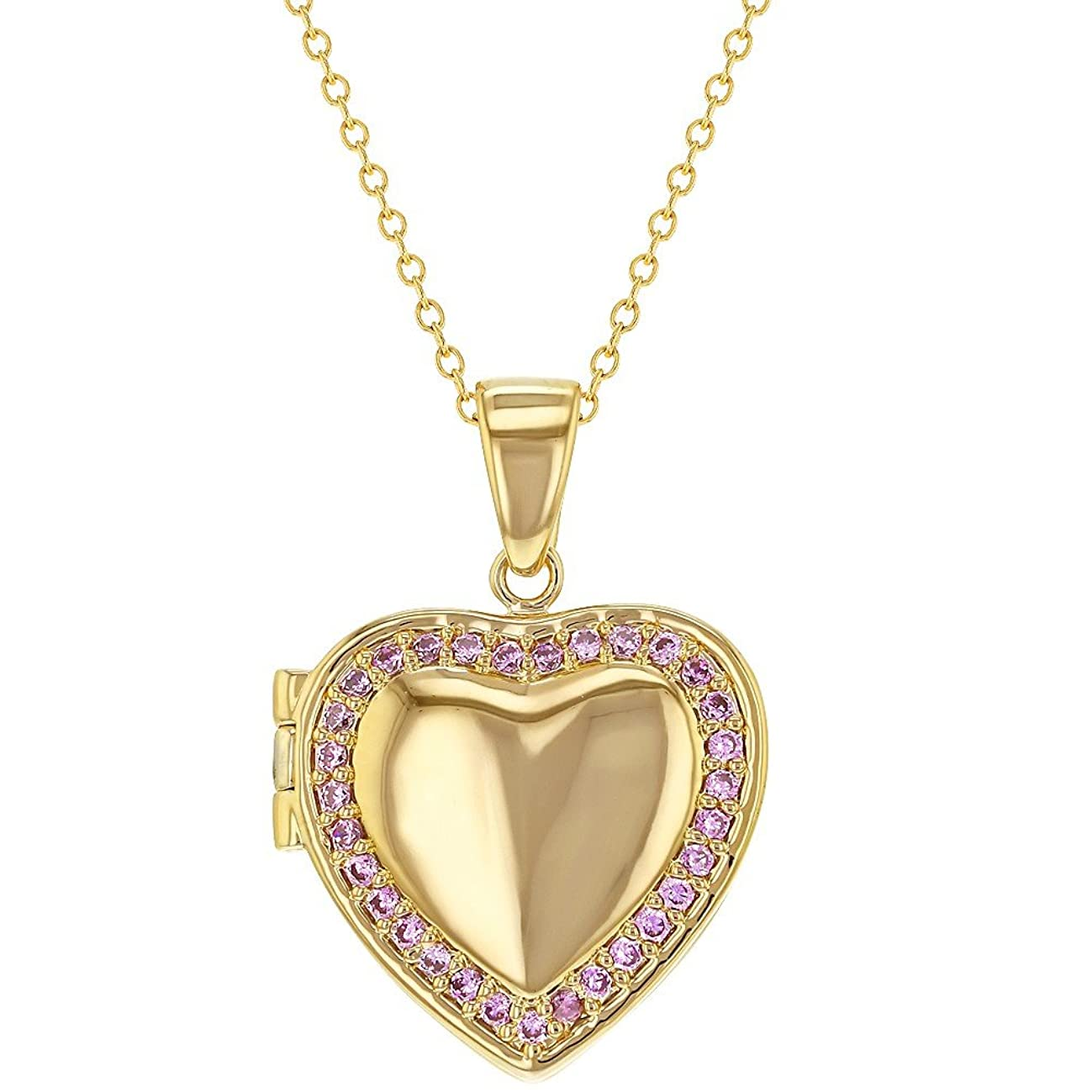In Season Jewelry 18k Gold Plated Pink Crystal Heart Shaped Photo Locket Pendant Necklace 19