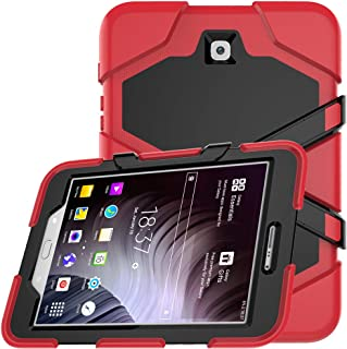Galaxy Tab S2 8.0 Case, Hybrid Three Layer Heavy Duty Armor Defender Shockproof Protective Case Cover with Built-in Screen Protector & Kickstand for Samsung Tab S2 8.0 inch SM-T710 T715 - Red