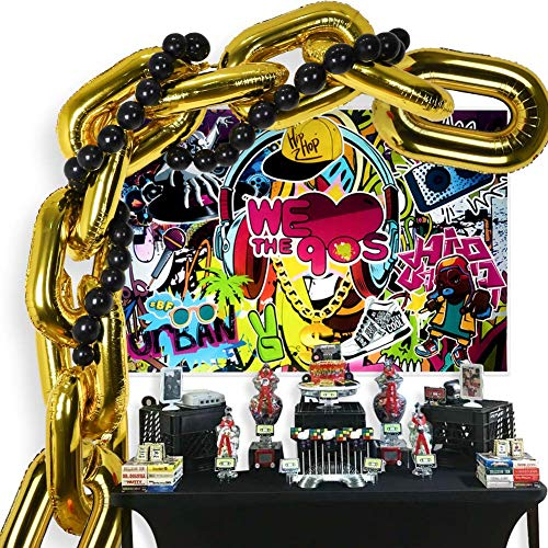 90s Party Decorations Balloon Garland Kit, Hip Pop Theme Backdrop, 10 Chain Balloons,30 Link Balloons for 80s 90s Hip Hop Retro Disco Theme Birthday Wedding Supplies Photo Booth Props …