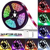 LED Strip 2m, SOLMORE LED Streifen Stripe Batterie 5050 RGB Lichtleiste Farbwechsel Lichtband...