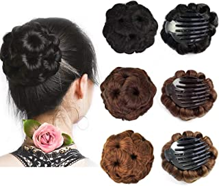 Beauty Angelbella Hair Buns Synthetic Natural Curly Chignon Hairpieces Updo Clip in/on Plastic Comb Elastic Bride Donut Wig For Women (Black)