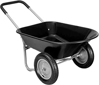 Giantex 2 Tire Wheelbarrow Yard Garden Cart Heavy Duty Landscape Wagon for Outdoor Lawn Use Utility Hualing Cart 330Lbs Load Capacity, Black